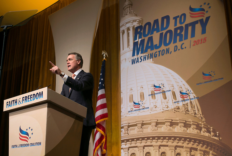 UNITED STATES - JUNE 19- Sen. David Perdue, R-Ga.  speaks during the Faith & Freedom Coalition's Road to Majority conference which featured speeches by conservative politicians at the Washington D.C. Omni Shoreham Hotel, June 19, 2015.(Photo By Al Drago/CQ Roll Call)