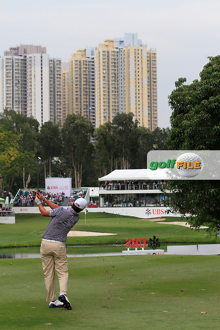 Matteo Manassero (ITA) hits his second shot on the 18th during Round 3 of the UBS Hong Kong Open 2012, Hong Kong Golf Club, Fanling, Hong Kong. 17/11/12...(Photo Jenny Matthews/www.golffile.ie)