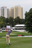 Matteo Manassero (ITA) hits his second shot on the 18th during Round 3 of the UBS Hong Kong Open 2012, Hong Kong Golf Club, Fanling, Hong Kong. 17/11/12...(Photo Jenny Matthews/www.golffile.ie)