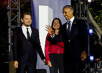 United States President Barack Obama, Leonardo DiCaprio and Dr. Katharine Hayhoe arrive for a panel discussion  on climate change as part of the White House South by South Lawn (SXSL)  event about the importance of protecting the one planet we&rsquo;ve got for future generations, on the South Lawn of the White House, Washington DC, October 3, 2016. <br /> Credit: Aude Guerrucci / Pool via CNP /MediaPunch