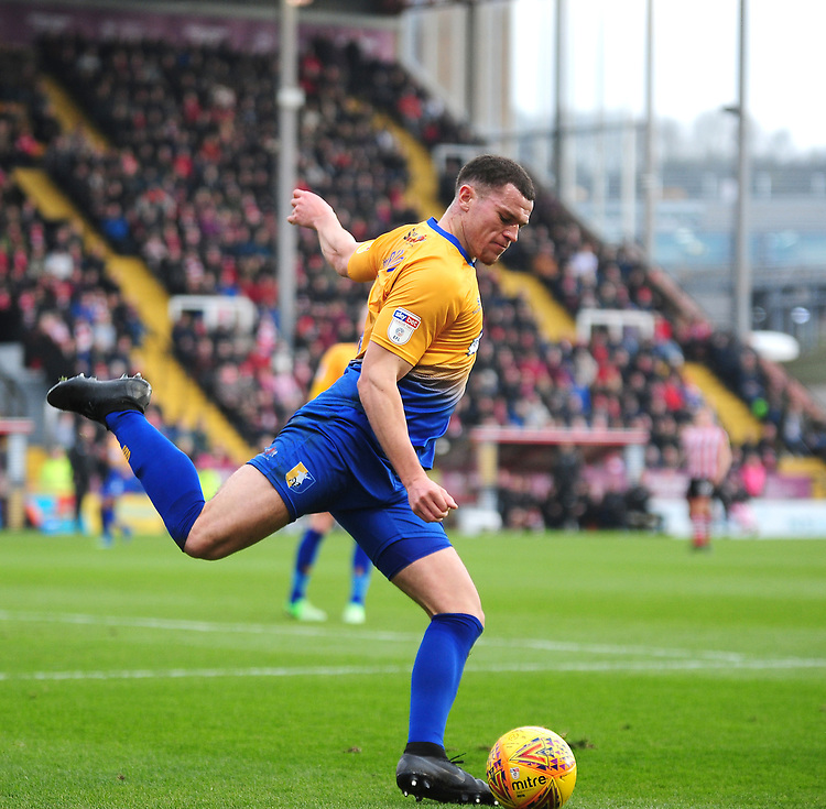 Mansfield Town's Matt Preston<br /> <br /> Photographer Andrew Vaughan/CameraSport<br /> <br /> The EFL Sky Bet League Two - Lincoln City v Mansfield Town - Saturday 24th November 2018 - Sincil Bank - Lincoln<br /> <br /> World Copyright © 2018 CameraSport. All rights reserved. 43 Linden Ave. Countesthorpe. Leicester. England. LE8 5PG - Tel: +44 (0) 116 277 4147 - admin@camerasport.com - www.camerasport.com