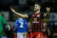 Blackburn Rovers' Derrick Williams celebrates a second Rovers' goal<br /> <br /> Photographer Andrew Kearns/CameraSport<br /> <br /> The EFL Sky Bet League One - Portsmouth v Blackburn Rovers - Tuesday 13th February 2018 - Fratton Park - Portsmouth<br /> <br /> World Copyright &copy; 2018 CameraSport. All rights reserved. 43 Linden Ave. Countesthorpe. Leicester. England. LE8 5PG - Tel: +44 (0) 116 277 4147 - admin@camerasport.com - www.camerasport.com