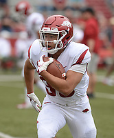 NWA Democrat-Gazette/ANDY SHUPE<br /> Arkansas running back Chad Hesson carries the ball Saturday, April 6, 2019, while warming up before the Razorbacks' spring game in Razorback Stadium in Fayetteville. Visit nwadg.com/photos to see more photographs from the game.