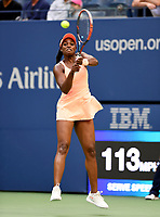 FLUSHING NY- SEPTEMBER 09: ***NO NY DAILIES*** Sloane Stephens returns a volley against Madison Keys. Stephens defeats Keys in straight sets 6-3, 6-0 during the Womens finals on Arthur Ashe Stadium at the US Open in the USTA Billie Jean King National Tennis Center on September 9, 2017 in Flushing Queens. <br /> CAP/MPI04<br /> &copy;MPI04/Capital Pictures