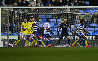 Leeds United's goaler Kiko Casilla shouts instructions to his team as Reading take a corner kick<br /> <br /> Photographer David Horton/CameraSport<br /> <br /> The EFL Sky Bet Championship - Reading v Leeds United - Tuesday 12th March 2019 - Madejski Stadium - Reading<br /> <br /> World Copyright &copy; 2019 CameraSport. All rights reserved. 43 Linden Ave. Countesthorpe. Leicester. England. LE8 5PG - Tel: +44 (0) 116 277 4147 - admin@camerasport.com - www.camerasport.com