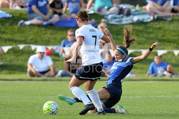 Kansas City, MO - Saturday July 16, 2016: Christine Nairn, Shea Groom during a regular season National Women's Soccer League (NWSL) match between FC Kansas City and the Washington Spirit at Swope Soccer Village.