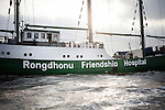 early morning journey to the Rongdhonu Friendship Hospital in the background docked outside the mongla port 29 April 2014