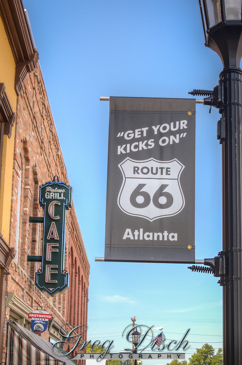 The Palms Grill Cafe on Route 66 in Atlanta Illinois opened in 1934 and operated until the late 1960, has been restored and is now serving Route 66 travelers.  The cafe is located in the historic Downey Building with the Atlanta Museum.