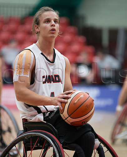 03.07.2016. Leicester Sports Arena, Leicester, England. Continental Clash Wheelchair Basketball, England versus Canada. Nik Goncin (CAN) prepares to make a shot