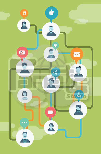 Illustrative image of people connected with each other representing social networking