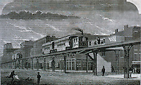 New York:  New York  Elevated Railroad--single tract--Greenwich St. and Ninth Ave.   SCIENTIFIC AMERICAN, April 1, 1876.