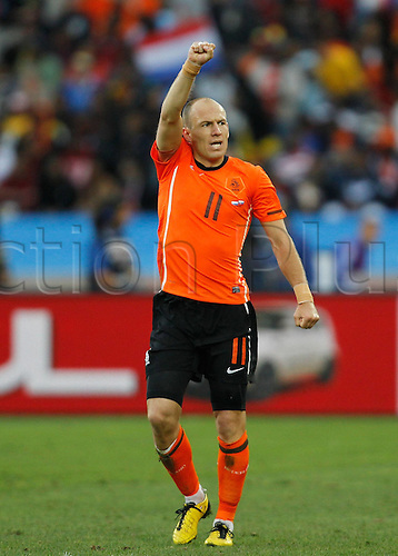28 06 2010    Arjen Robben of The Netherlands Celebrates His Scoring during The 2010 World Cup Round of 16 Soccer Match Against Slovakia AT Moses Mabhida stadium in Durban South Africa ON June 28 2010 Xinhua Liao Yujie DL South Africa Durban 2010 FIFA World Cup Netherlands vs Slovakia