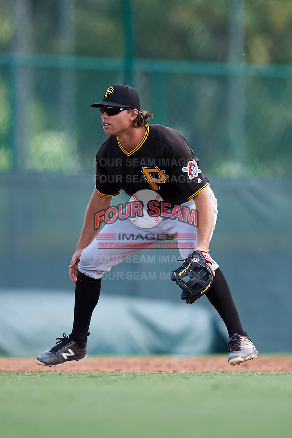 Pittsburgh Pirates third baseman Eric Wood (28) during an Instructional League Intrasquad Black & Gold game on September 28, 2016 at Pirate City in Bradenton, Florida.  (Mike Janes/Four Seam Images)