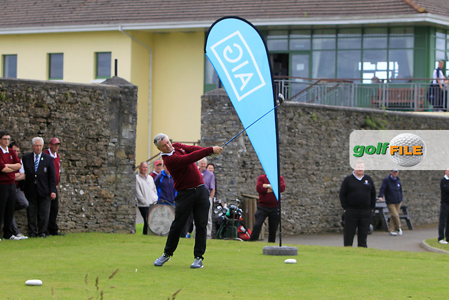 John Eggleston (Ballybunion) on the 1st tee during the Final round of the Munster section of the AIG Jimmy Bruen Shield at East Clare Golf Club on Sunday 19th July 2015.<br /> Picture:  Golffile | Thos Caffrey