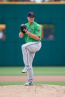 Gwinnett Stripers relief pitcher Evan Phillips (34) delivers a pitch during a game against the Columbus Clippers on May 17, 2018 at Huntington Park in Columbus, Ohio.  Gwinnett defeated Columbus 6-0.  (Mike Janes/Four Seam Images)