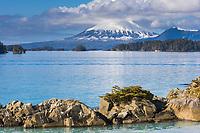 View of inactive volcano, Mount Edgecumbe on Kruzof island, southeast, Alaska.
