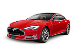Red 2014 Tesla Model S luxury electric car isolated on white background with clipping path