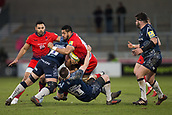 24th March 2018, AJ Bell Stadium, Salford, England; Aviva Premiership rugby, Sale Sharks versus Worcester Warriors; Alafoti Fa'osiliva of Worcester Warriors is tackled by Josh Strauss and Ben Curry of Sale Sharks
