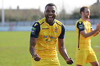 Christian Assombalonga celebrates at the final whislte  during Witham Town vs AFC Hornchurch, Bostik League Division 1 North Football at Spa Road on 14th April 2018