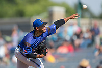Missoula Osprey relief pitcher Abraham Almonte (37) delivers a pitch to the plate against the Billings Mustangs at Dehler Park on August 20, 2017 in Billings, Montana.  The Osprey defeated the Mustangs 6-4.  (Brian Westerholt/Four Seam Images)