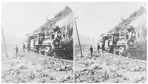 3/4 engineer's-side view of D&amp;RG Columbia #1 &quot;Montezuma&quot; with the pay train posing for the photographer near Dump Mountain.<br /> D&amp;RG  Dump Mountain on La Veta Pass, CO  Taken by Gurnsey, B. H.