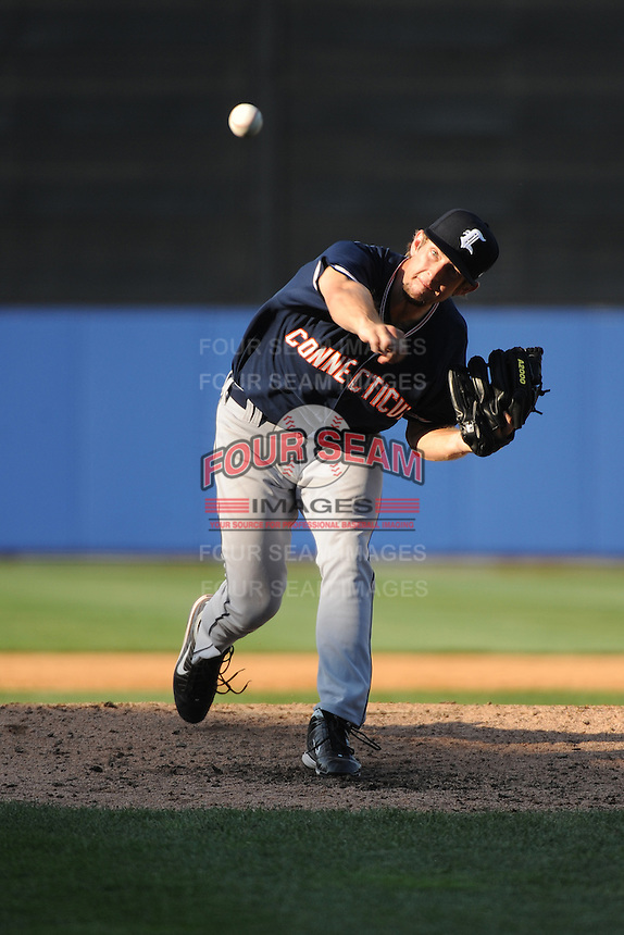 Connecticut Tigers pitcher Johnnie Kirkland (19) during game against the Staten Island Yankees at Richmond County Bank Ballpark at St.George on July 7, 2013 in Staten Island, NY.  Staten Island defeated Connecticut 6-2.  (Tomasso DeRosa/Four Seam Images)