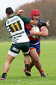 Louis Kapateni collides with Pisi Leilua during the Counties Manukau Premier Club Rugby game between Ardmore Marist and Manurewa, played at Bruce Pulman Park Papakura on Saturday May 12th 2018. Ardmore Marist won the game 20 - 3 after leading 17 - 3 at halftime.<br /> Ardmore Marist - Katetistoti Nginingini try, penalty try, Latiume Fosita conversion, Latiume Fosita 2 penalties.<br /> Manurewa - Logan Fonoti penalty.<br /> Photo by Richard Spranger.