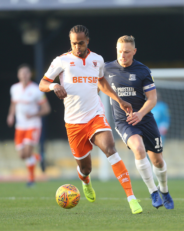 Blackpool's Nathan Delfouneso<br /> <br /> Photographer Rob Newell/CameraSport<br /> <br /> The EFL Sky Bet League One - Southend United v Blackpool - Saturday 17th November 2018 - Roots Hall - Southend<br /> <br /> World Copyright © 2018 CameraSport. All rights reserved. 43 Linden Ave. Countesthorpe. Leicester. England. LE8 5PG - Tel: +44 (0) 116 277 4147 - admin@camerasport.com - www.camerasport.com