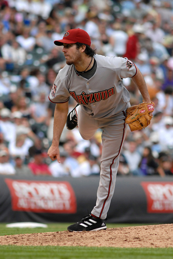 14 August 08: DBacks pitcher Dan Haren delivers a pitch against the Colorado Rockies. The Arizona Diamondbacks defeated the Colorado Rockies 6-2 at Coors Field in Denver, Colorado.