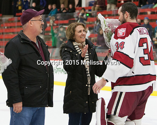 Tracy Michalek, Marianne Michalek, Steve Michalek (Harvard - 34) - The Harvard University Crimson defeated the visiting Princeton University Tigers 5-0 on Harvard's senior night on Saturday, February 28, 2015, at Bright-Landry Hockey Center in Boston, Massachusetts.