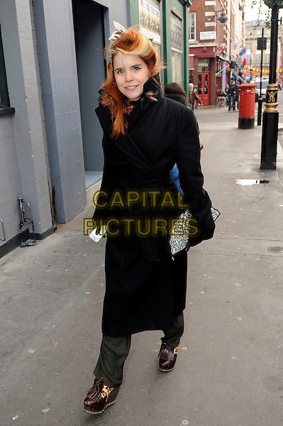 Paloma Faith spotted in central London, England..17th January, 2012 [ Exclusive ].** Exclusive All-Rounder**.full length black coat.CAP/IA.©Ian Allis/Capital Pictures.