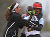 Stephanie Serwan #35, Lindenhurst 1B, right, gets mobbed by teammates after she connected for a run-scoring double in the bottom of the seventh inning to break a 1-1 tie with Connetquot and propel the Lady Bulldogs to a 2-1 walkoff win in a Suffolk County varsity softball game at Daniel Street Elementary School on Thursday, May 5, 2016.