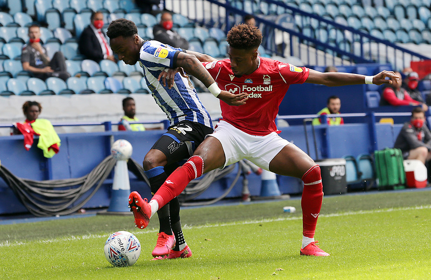 Sheffield Wednesday's Moses Odubajo shields the ball from Nottingham Forest's Nuno Da Costa<br /> <br /> Photographer Rich Linley/CameraSport<br /> <br /> The EFL Sky Bet Championship - Sheffield Wednesday v Nottingham Forest - Saturday 20th June 2020 - Hillsborough - Sheffield <br /> <br /> World Copyright © 2020 CameraSport. All rights reserved. 43 Linden Ave. Countesthorpe. Leicester. England. LE8 5PG - Tel: +44 (0) 116 277 4147 - admin@camerasport.com - www.camerasport.com