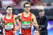 2nd February 2019, Karlsruhe, Germany;  1500m men: winner Jannik Arbogast ahead of Pascal Kleyer. IAAF Indoor athletics maeeting, Karlsruhe