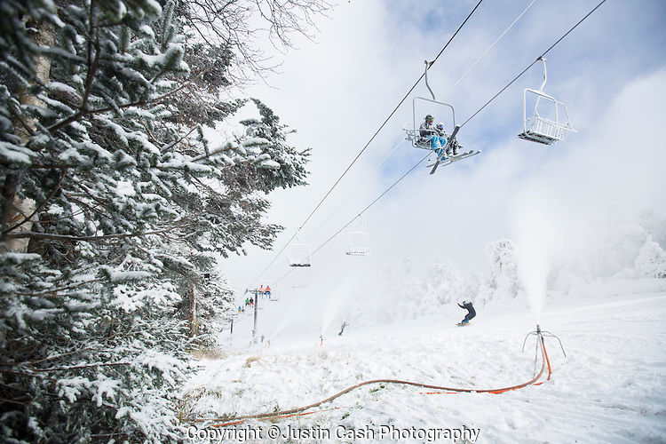 First day of skiing at Killington Resort, Vermont. October 18, 2015.