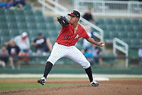 Kannapolis Intimidators relief pitcher Andrew Perez (14) in action against the Rome Braves at Kannapolis Intimidators Stadium on April 7, 2019 in Kannapolis, North Carolina. The Intimidators defeated the Braves 2-1. (Brian Westerholt/Four Seam Images)