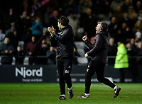 Lincoln City's assistant manager Nicky Cowley, right, celebrates at the end of the game<br /> <br /> Photographer Chris Vaughan/CameraSport<br /> <br /> The EFL Sky Bet League Two - Lincoln City v Yeovil Town - Friday 8th March 2019 - Sincil Bank - Lincoln<br /> <br /> World Copyright © 2019 CameraSport. All rights reserved. 43 Linden Ave. Countesthorpe. Leicester. England. LE8 5PG - Tel: +44 (0) 116 277 4147 - admin@camerasport.com - www.camerasport.com