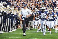 Sept. 19, 2009; Provo, UT, USA; BYU Cougars head coach Bronco Mendenhall leads his team onto the field for their game against the Florida State Seminoles at LaVell Edwards Stadium. Florida State defeated BYU 54-28. Mandatory Credit: Mark J. Rebilas-
