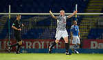 St Johnstone v Queens Park....25.09.12      Scottish Communities League Cup 3rd Round.Michael Keenan celebrates his goal.Picture by Graeme Hart..Copyright Perthshire Picture Agency.Tel: 01738 623350  Mobile: 07990 594431