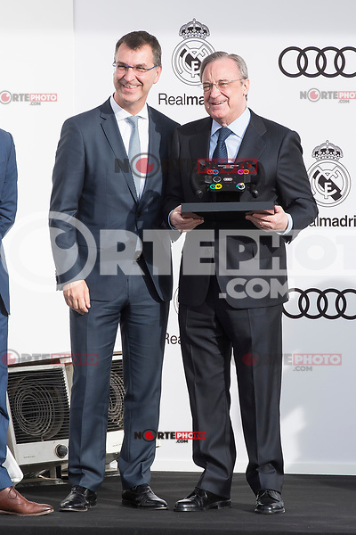 President of Real Madrid CF, Florentino Perez poses for a photograph after being presented with a new Audi car as part of an ongoing sponsorship deal with Real Madrid at their Ciudad Deportivo training grounds in Madrid, Spain. November 23, 2017. (ALTERPHOTOS/Borja B.Hojas) /NortePhoto.com NORTEPHOTOMEXICO