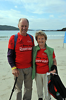 8-7-2017: Denis Fitzgerald, Ballinlough, Cork and his sister Eileen Fitzgerald, Charleville pictured walking on Derrynane Strand in County Kerry on Saturday in the Kerry Way Walk in aid of Breakthrough Cancer Research. The three day charity walk around South Kerry attracts walkers from all over Ireland and has raised over &euro;670,000 in its 14 year history.<br /> Photo Don MacMonagle<br /> <br /> Repro free photo breakthrough cancer research