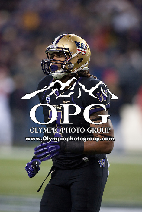 NOV 10, 2012:  Washington's Shaq Thompson against Utah.  Washington defeated Utah  34-15 at CenturyLink Field in Seattle, WA...