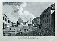 Treasury and Jesuits' College, engraving by C Grignion after a drawing by Richard Short, published in 1761 as a collection of Views of Quebec in the 18th century, by Thomas Jefferys in London, in the collection of the Musees du Quebec, Quebec City, Quebec, Canada. Picture by Manuel Cohen