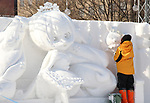 February 3, 2019, Sapporo, Japan - A worker puts a final touch on a snow sculpture of a characters of Snow Miku displayed at the 70th annual Sapporo Snow Festival in Sapporo in Japan's nortern island of Hokkaido on Sunday, February 3, 2019. The week-long snow festival will open on February 4 through February 11 and over 2.5 million people are expecting to visit the festival.   (Photo by Yoshio Tsunoda/AFLO) LWX -ytd-