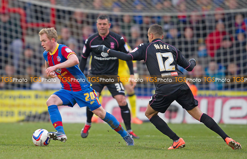 Jonathon Williams, Crystal Palace FC tries to lose the defensive schackles of Ravel Morrison and Paul Robinson, Birmingham City FC - Crystal Palace vs Birmingham City - NPower Championship Football at Selhurst Park, London - 29/03/13 - MANDATORY CREDIT: Ray Lawrence/TGSPHOTO - Self billing applies where appropriate - 0845 094 6026 - contact@tgsphoto.co.uk - NO UNPAID USE.