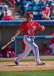 28 February 2016: Washington Nationals infielder Danny Espinosa in action during an inter-squad pre-season Spring Training game at Space Coast Stadium in Viera, Florida. Mandatory Credit: Ed Wolfstein Photo *** RAW (NEF) Image File Available ***