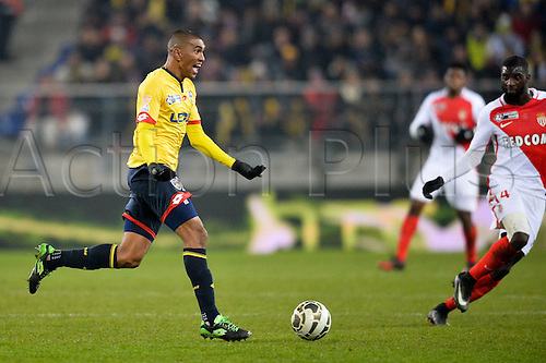 10.01.2017. Stade Bonal, Montbéliard, France. French League cup football, Sochaux versus Monaco.  Faneva ANDRIATSIMA (soc) looks for a forward runner to pass to