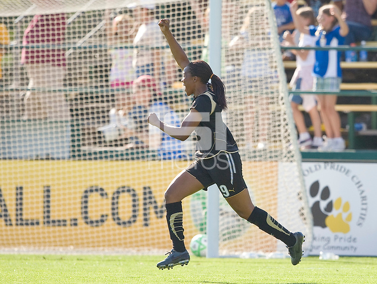 Kandace Wilson celebrates after a Tifffeny Mibrett goal. FC Gold Pride defeated the Boston Breakers 2-1 at Buck Shaw Stadium in Santa Clara, California on April 5th, 2009.