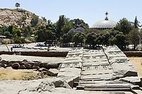 ETHIOPIA , Tigray, Axum, stelae, UNESCO world heritage site, and Church of Our Lady Mary of Zion, built under emperor Haile Selassie time / AETHIOPIEN, Tigray, Aksum, Stelen, Koenig Ezanas Stele, UNESCO Welterbe, und Kirche der Heiligen Maria von Zion