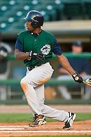Charlotte right fielder Kenny Kelly (25) follows through on his swing versus Louisville at Louisville Slugger Field in Louisville, KY, Wednesday, June 6, 2007.